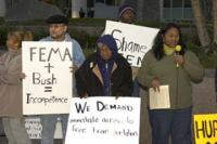 Katrina survivors demand rights from FEMA in Oakland, California © 2006 Scott Braley