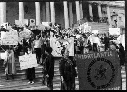 People of Color Summit delegates hold a rally on the steps of the U.S. Capitol Building.  © 1991 Robert Bullard