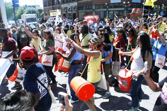 At the USSF opening march in Detroit, Michigan on June 22, 2010. Courtesy of the Labor/Community Strategy Center