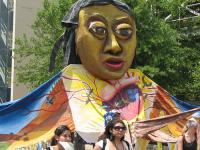 Photo: Giant puppet at the USSF opening march. © 2007 Marin Grassroots Leadership Network