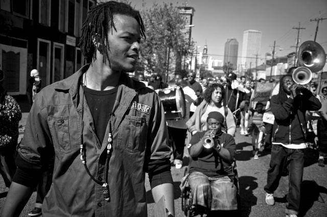 "Youth Activist ""Knowledge is Born"" leads School-to-Prison Pipeline protest, April 2009.  ©2009 Abdul Aziz/ Haymarket Books"