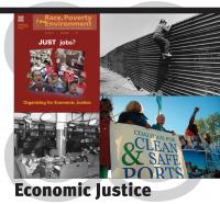 Cover from RP&E Vol. 14, No. 1: JUST Jobs?—Organizing for Economic Justice.  Tijuana—A worker looks over the fence between Mexic