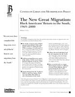 The New Great Migration: Black Americans' Return to the South, 1965–2000