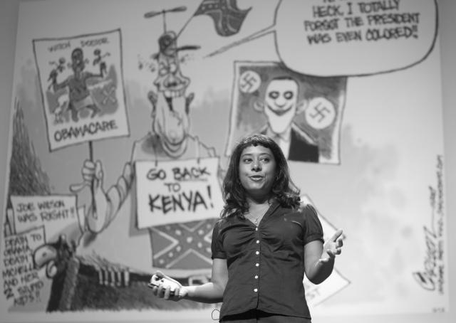 Rinku Sen giving a presentation Rinku Sen on the continuing racial  divide at Pop Tech 2009, Camden, Maine. 2009 cc. Kris Krüg