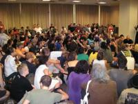 Photo: Overflowing workshop at USSF. © 2007 Marin Grassroots Leadership Network