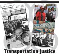 Upper left) Cover from RP&E Vol. 6, No. 1: Transportation and Social Justice.  (Lower right) Rosa Parks with her lawyer. © 1956